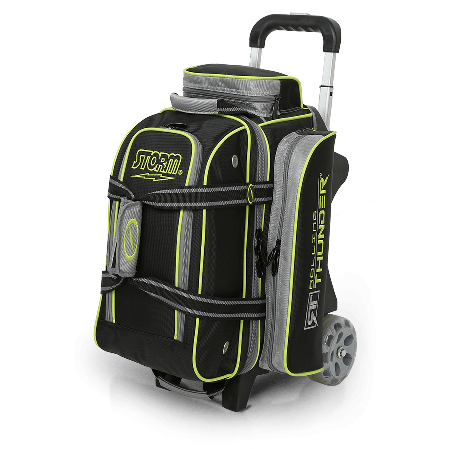 Storm 2 Ball Rolling Thunder Double Roller Bowling Bag Black Gray Lime